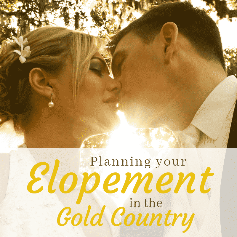 "Promotional Image: A couple kissing as the sun sets between their faces, with the text: Planning your Elopement in the Gold Country""."