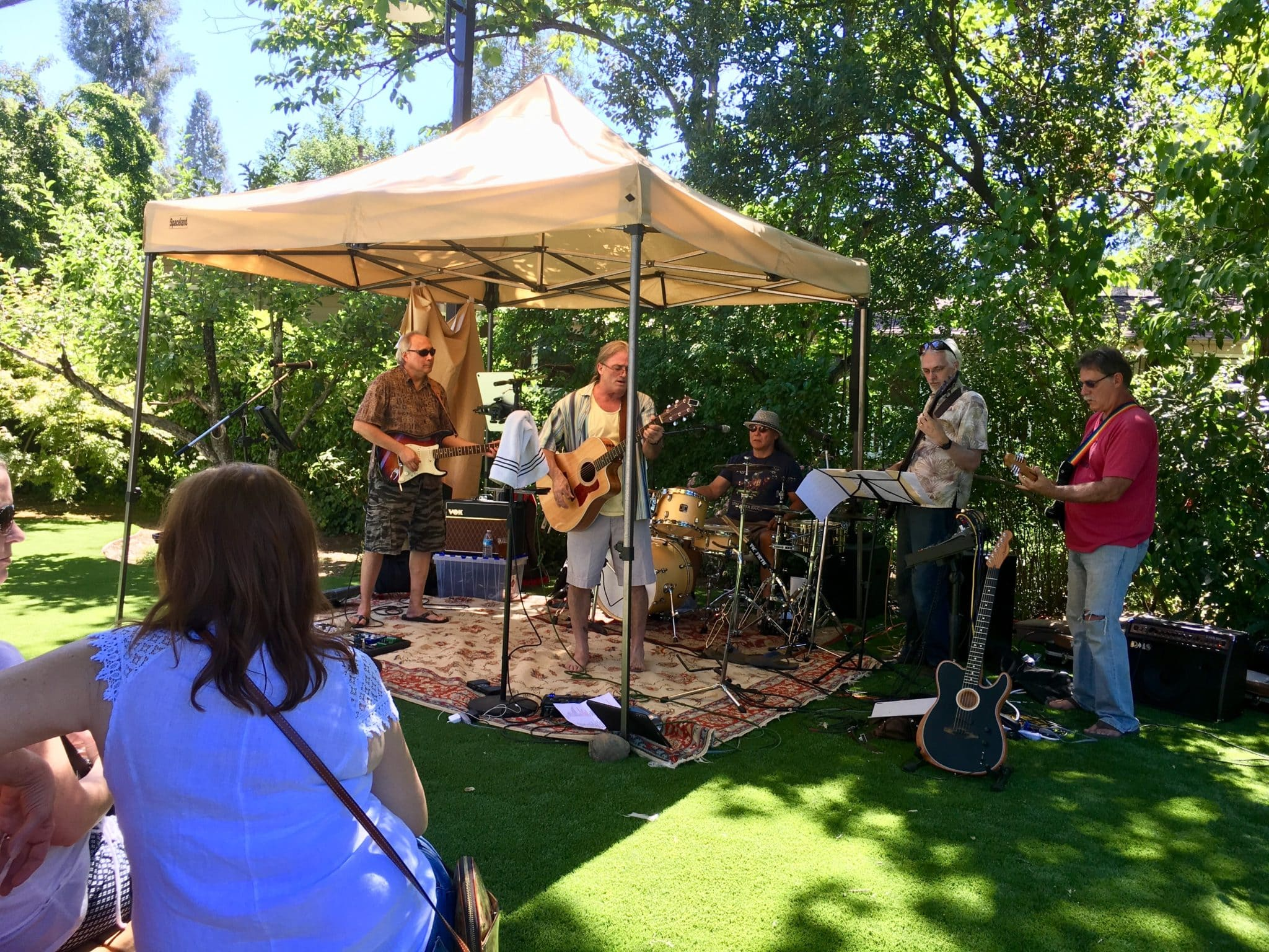 folk rock band plays in an outdoor garden venue