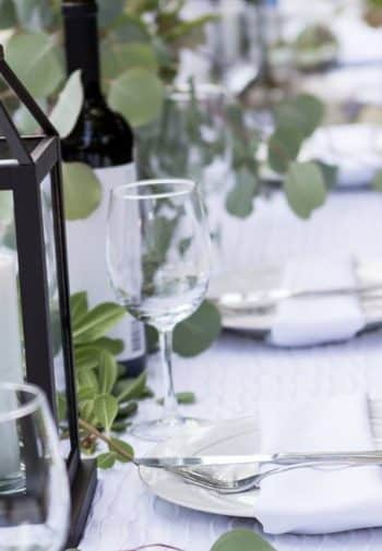 white table with white plates